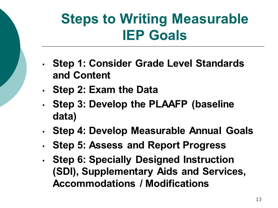 Steps to Writing Measurable IEP Goals