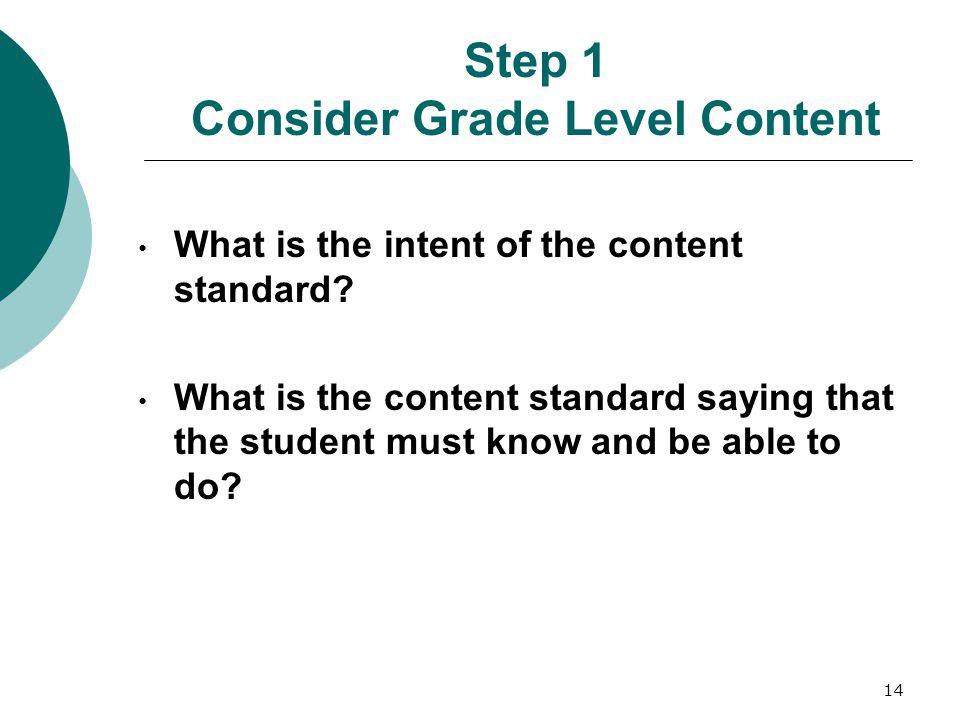 Step 1 Consider Grade Level Content