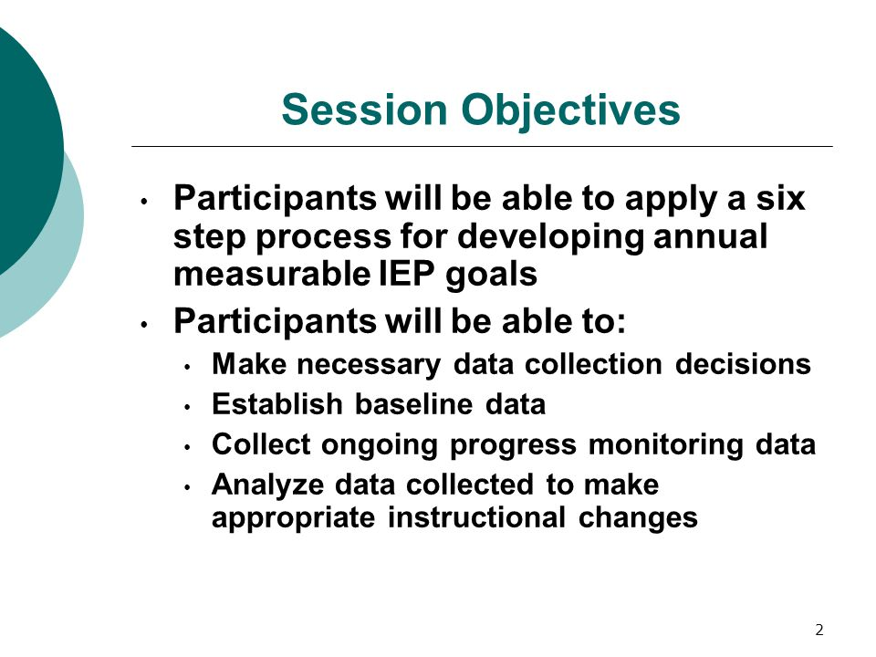 Session Objectives Participants will be able to apply a six step process for developing annual measurable IEP goals.
