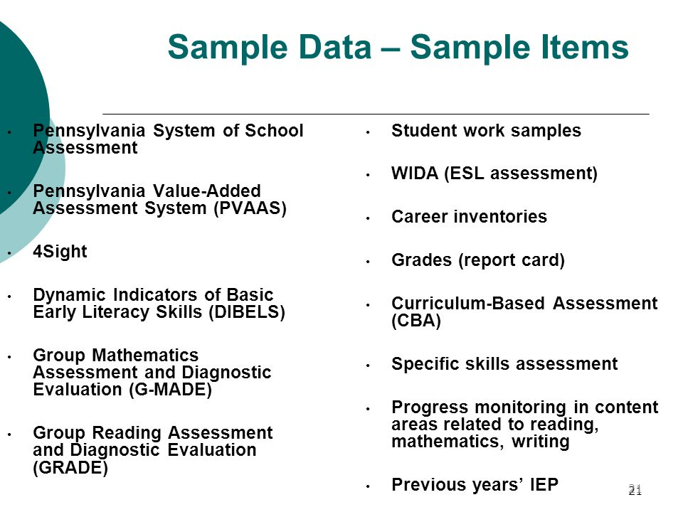 Sample Data – Sample Items