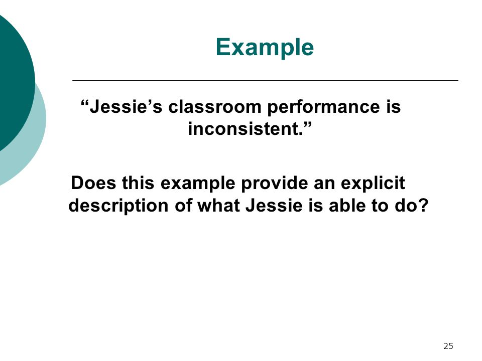 Jessie's classroom performance is inconsistent.