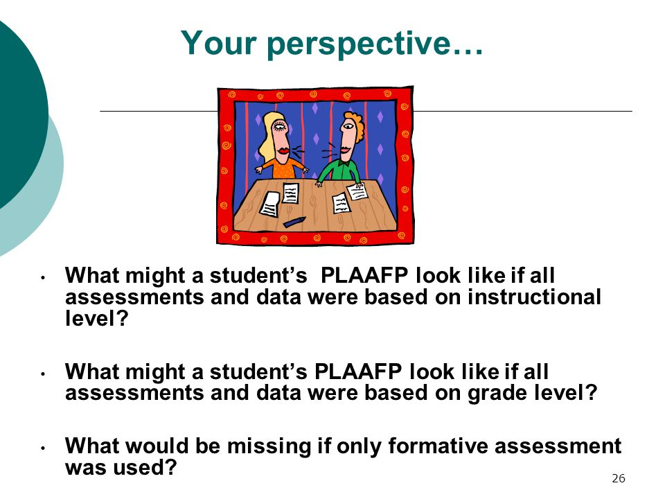 Your perspective… What might a student's PLAAFP look like if all assessments and data were based on instructional level