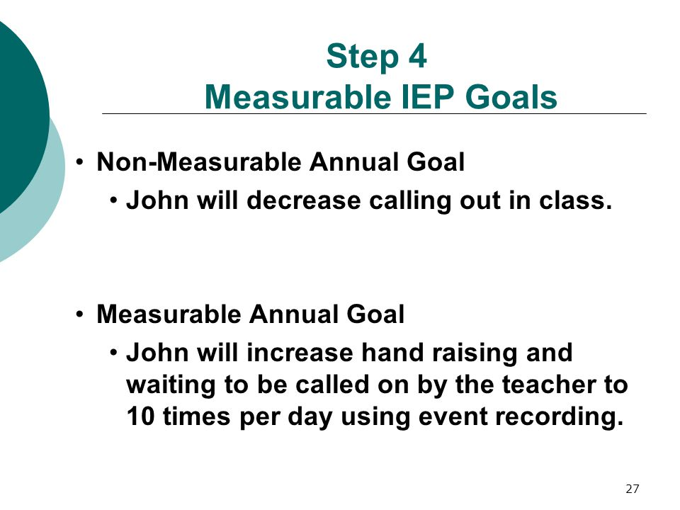 Step 4 Measurable IEP Goals