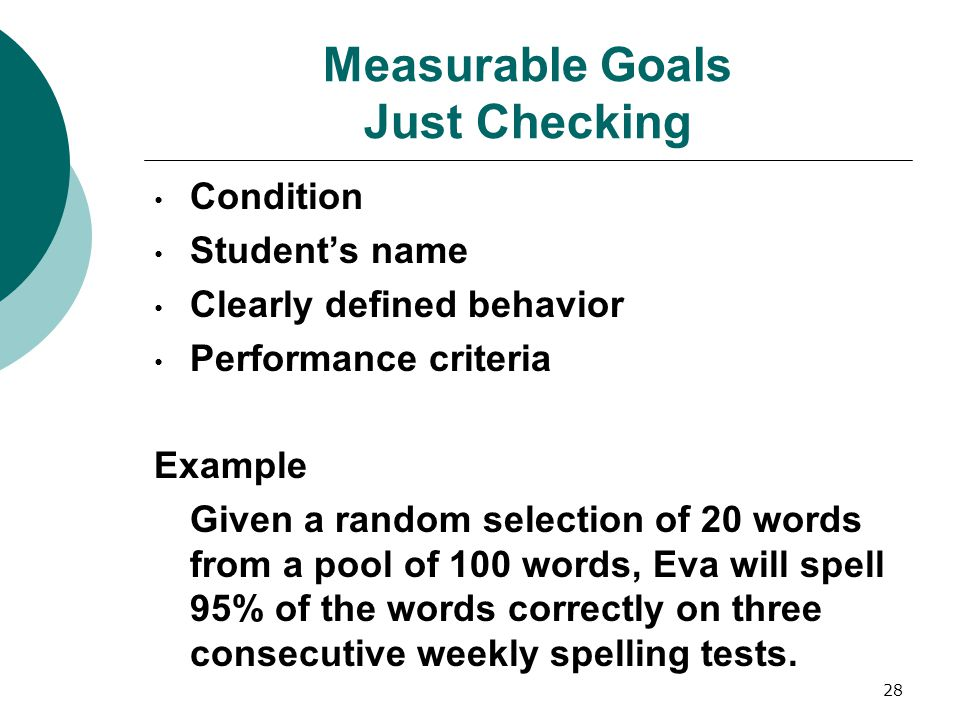 Measurable Goals Just Checking