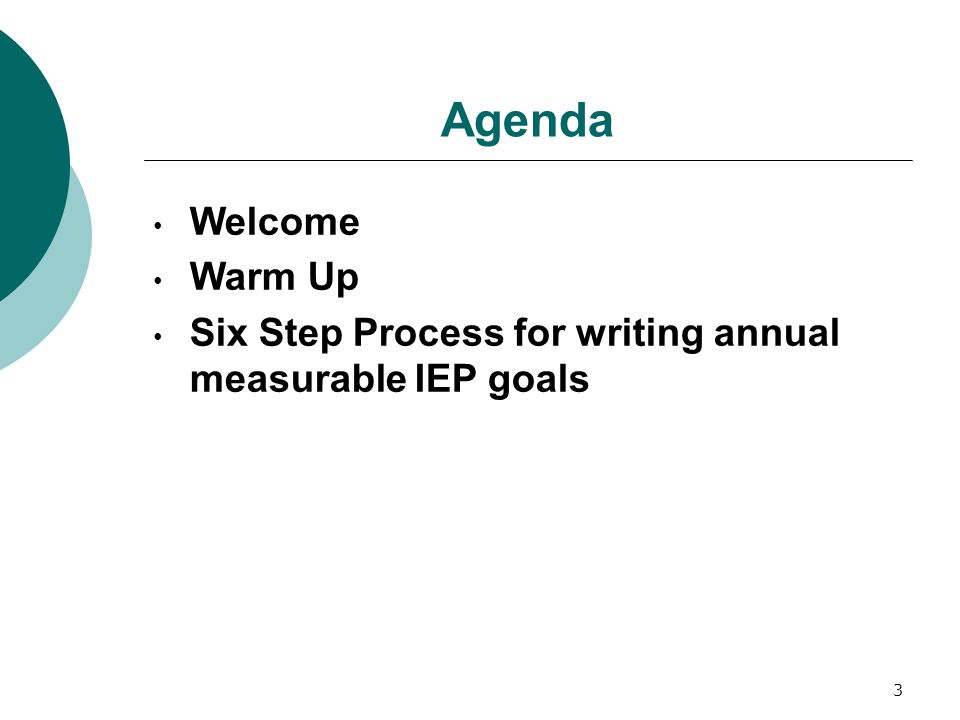 Agenda Welcome Warm Up Six Step Process for writing annual measurable IEP goals