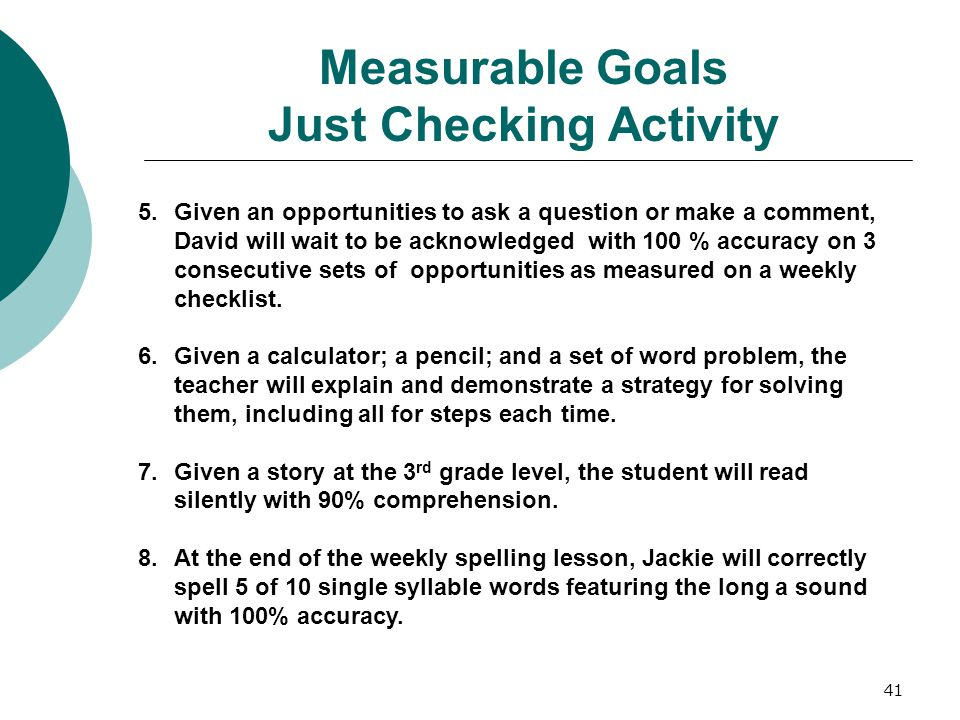 Measurable Goals Just Checking Activity