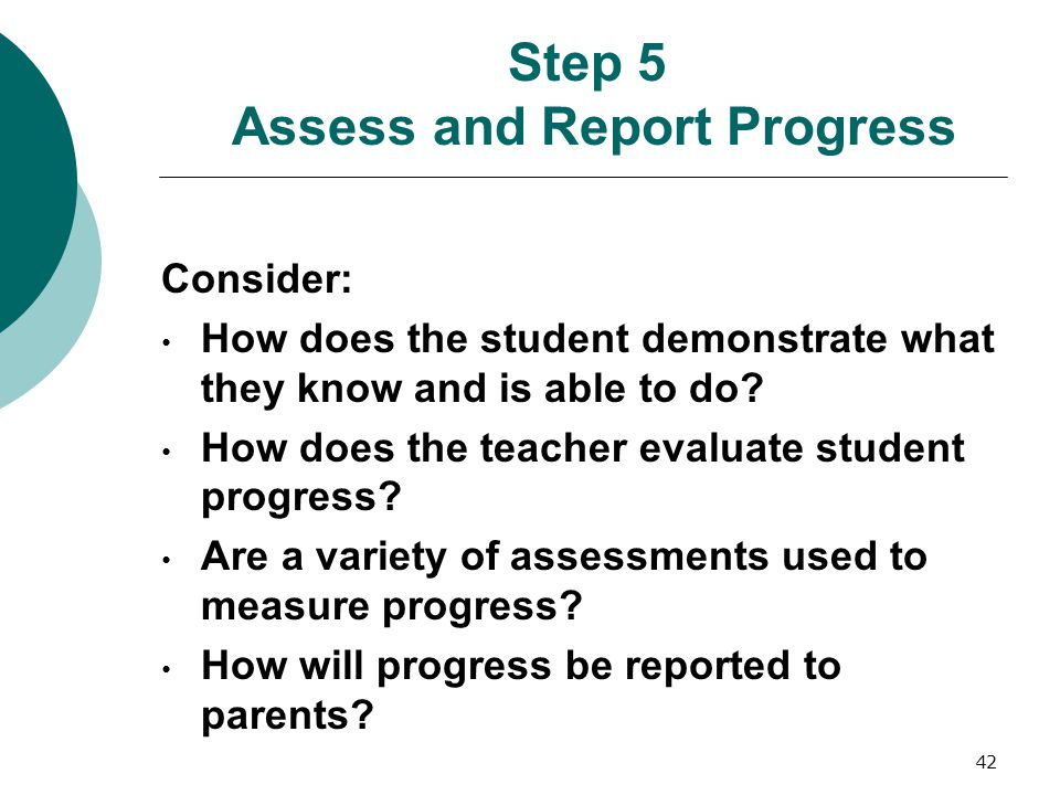 Step 5 Assess and Report Progress