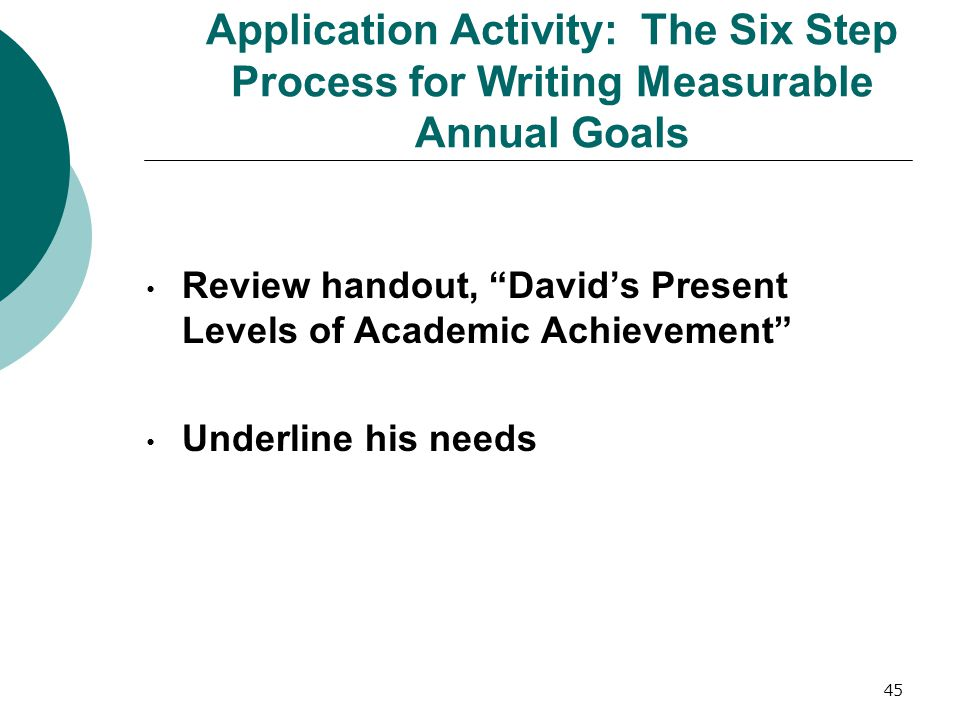 Application Activity: The Six Step Process for Writing Measurable Annual Goals