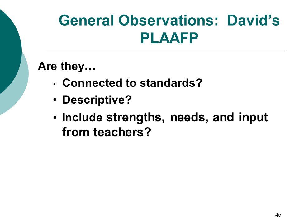 General Observations: David's PLAAFP