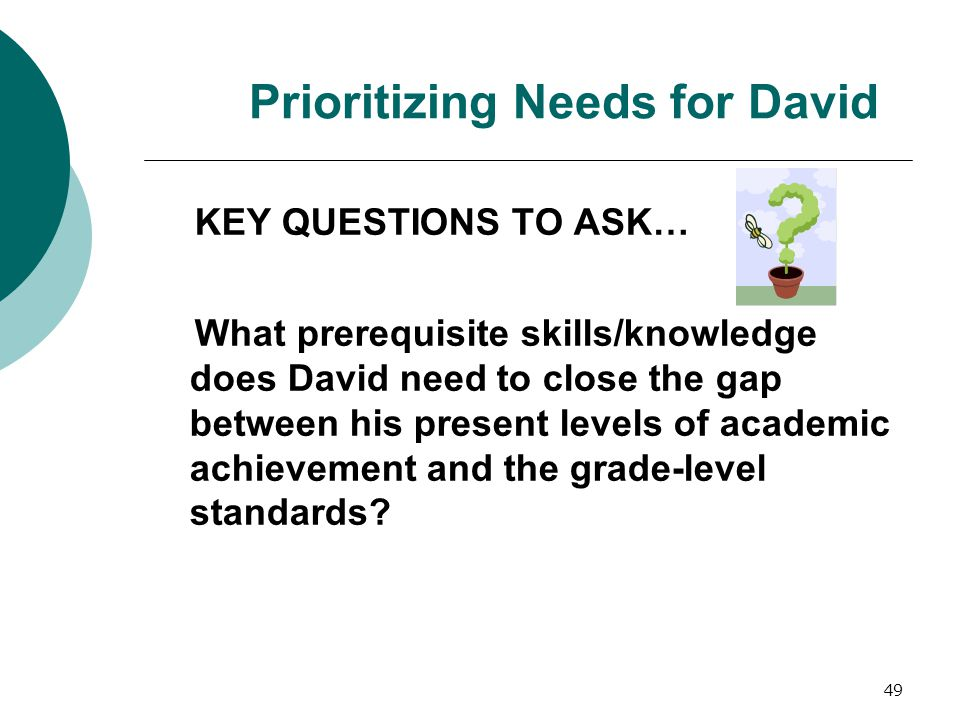 Prioritizing Needs for David