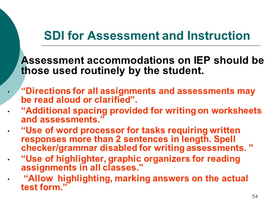SDI for Assessment and Instruction