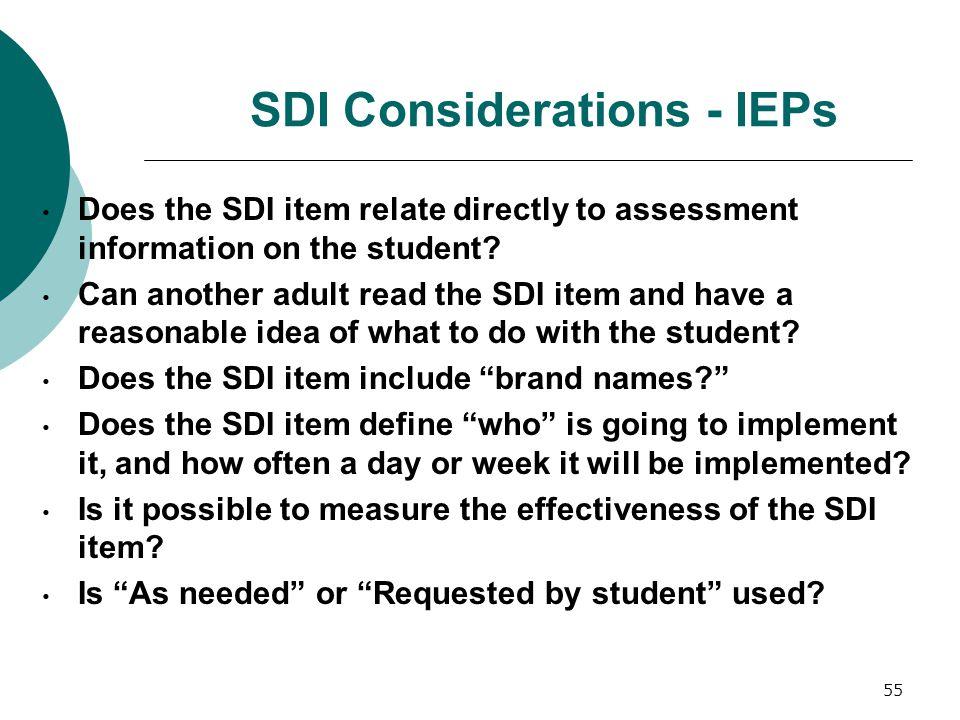 SDI Considerations - IEPs