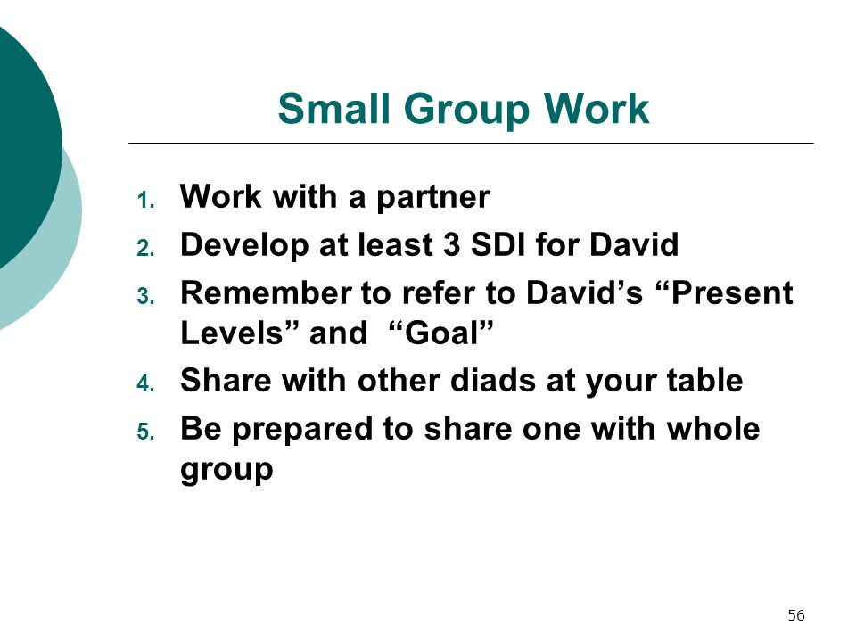Small Group Work Work with a partner Develop at least 3 SDI for David