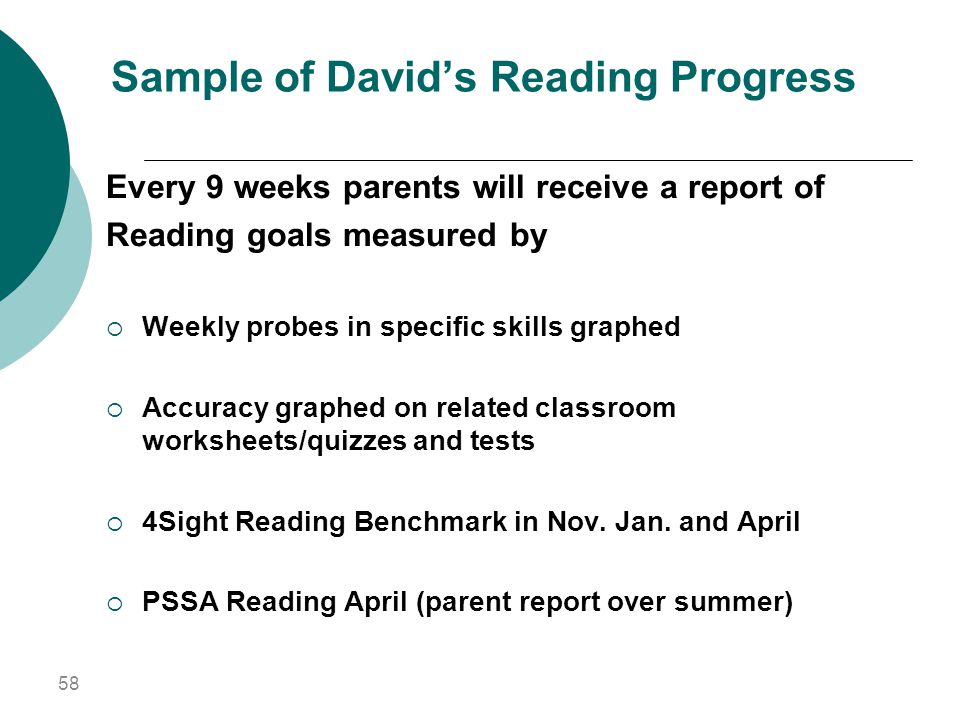 Sample of David's Reading Progress