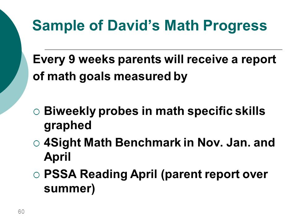 Sample of David's Math Progress