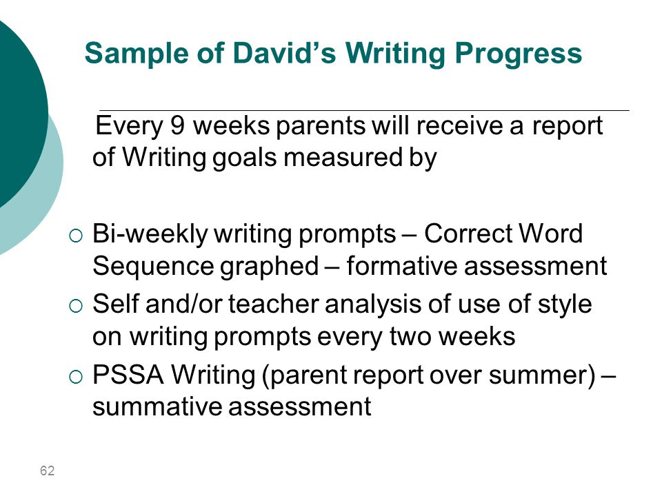 Sample of David's Writing Progress