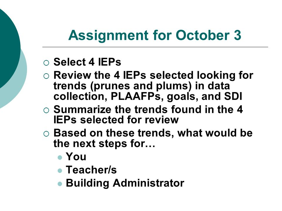 Assignment for October 3