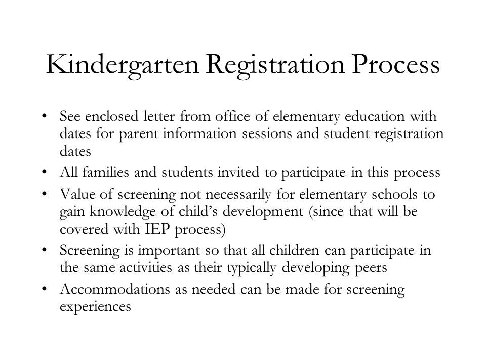 Kindergarten Registration Process