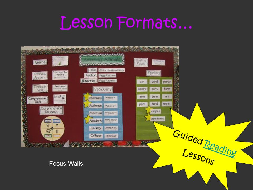 Lesson Formats… Guided Reading Lessons Focus Walls