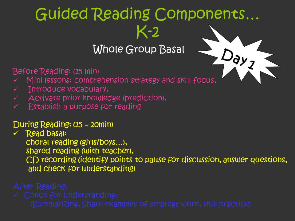 Guided Reading Components… K-2