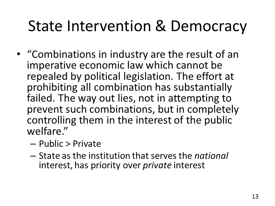 State Intervention & Democracy
