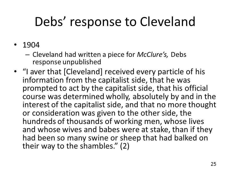 Debs' response to Cleveland