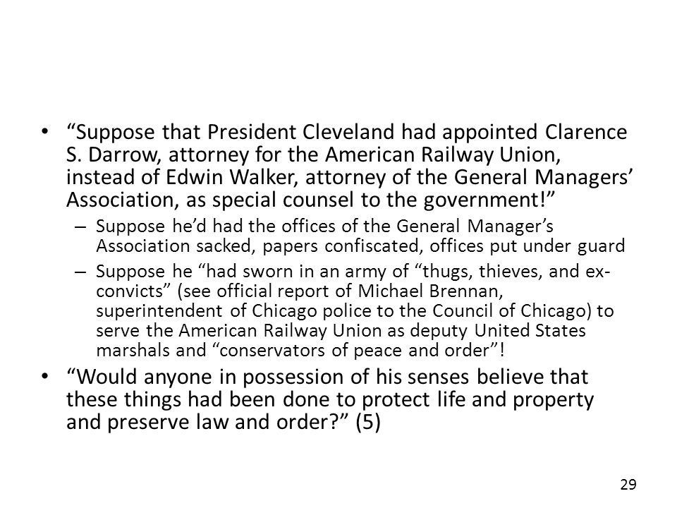 Suppose that President Cleveland had appointed Clarence S