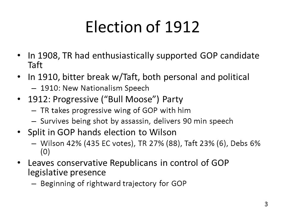 Election of 1912 In 1908, TR had enthusiastically supported GOP candidate Taft. In 1910, bitter break w/Taft, both personal and political.