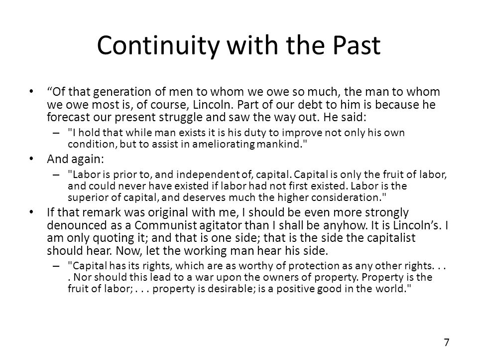 Continuity with the Past