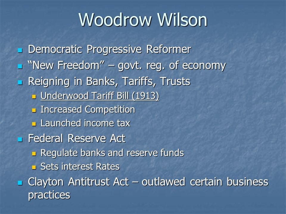 Woodrow Wilson Democratic Progressive Reformer