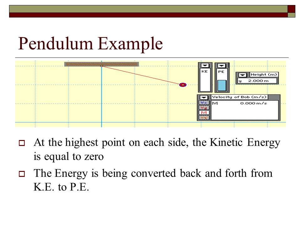 Pendulum Example At the highest point on each side, the Kinetic Energy is equal to zero.