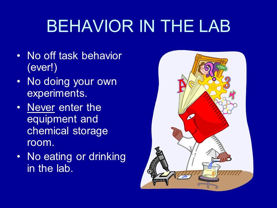 BEHAVIOR IN THE LAB No off task behavior (ever!)