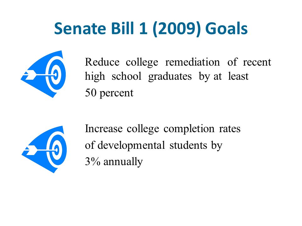 Senate Bill 1 (2009) Goals Reduce college remediation of recent high school graduates by at least.