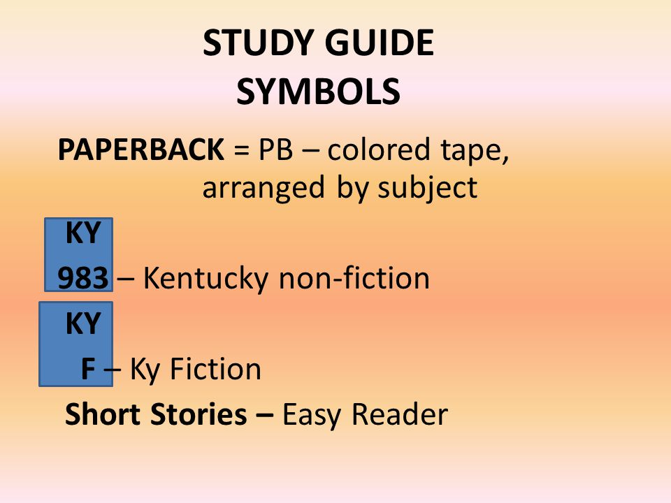 STUDY GUIDE SYMBOLS PAPERBACK = PB – colored tape, arranged by subject