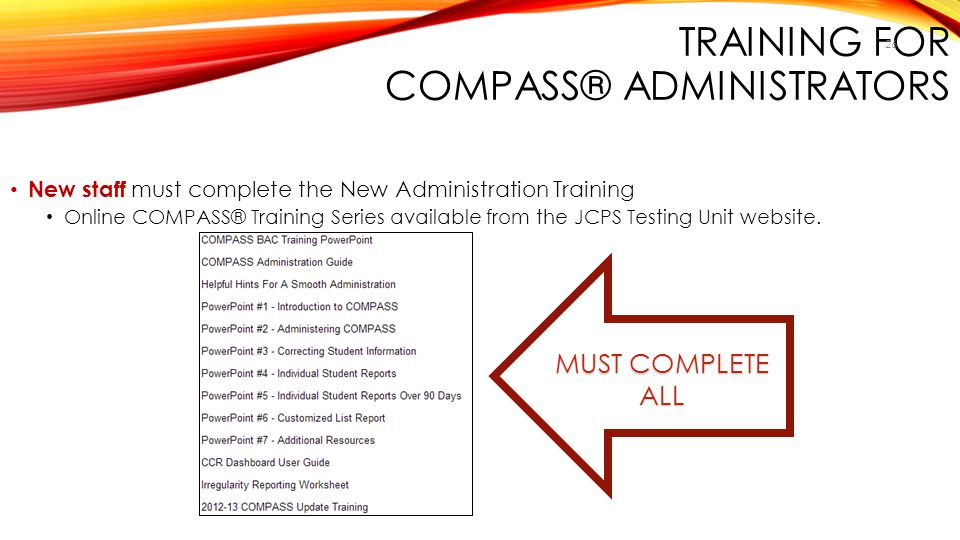 Training for COMPASS® Administrators