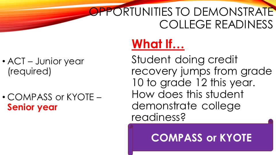 Opportunities to Demonstrate College Readiness