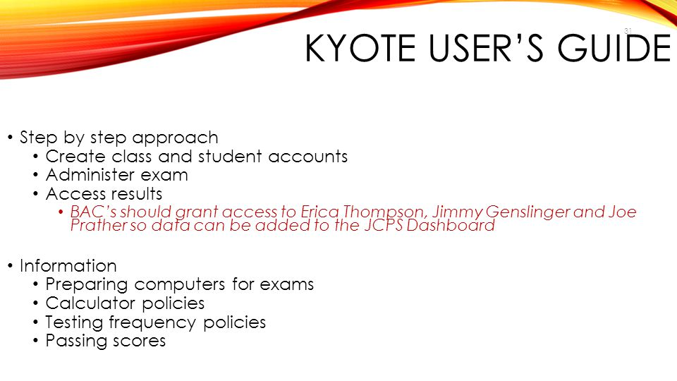 KYOTE USER'S GUIDE Step by step approach