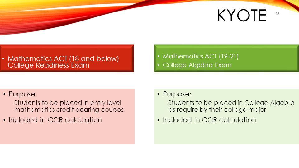 KYOTE Mathematics ACT (18 and below) College Readiness Exam Purpose:
