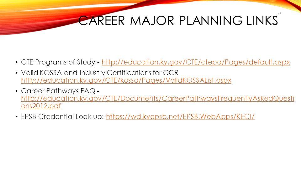 Career Major Planning Links