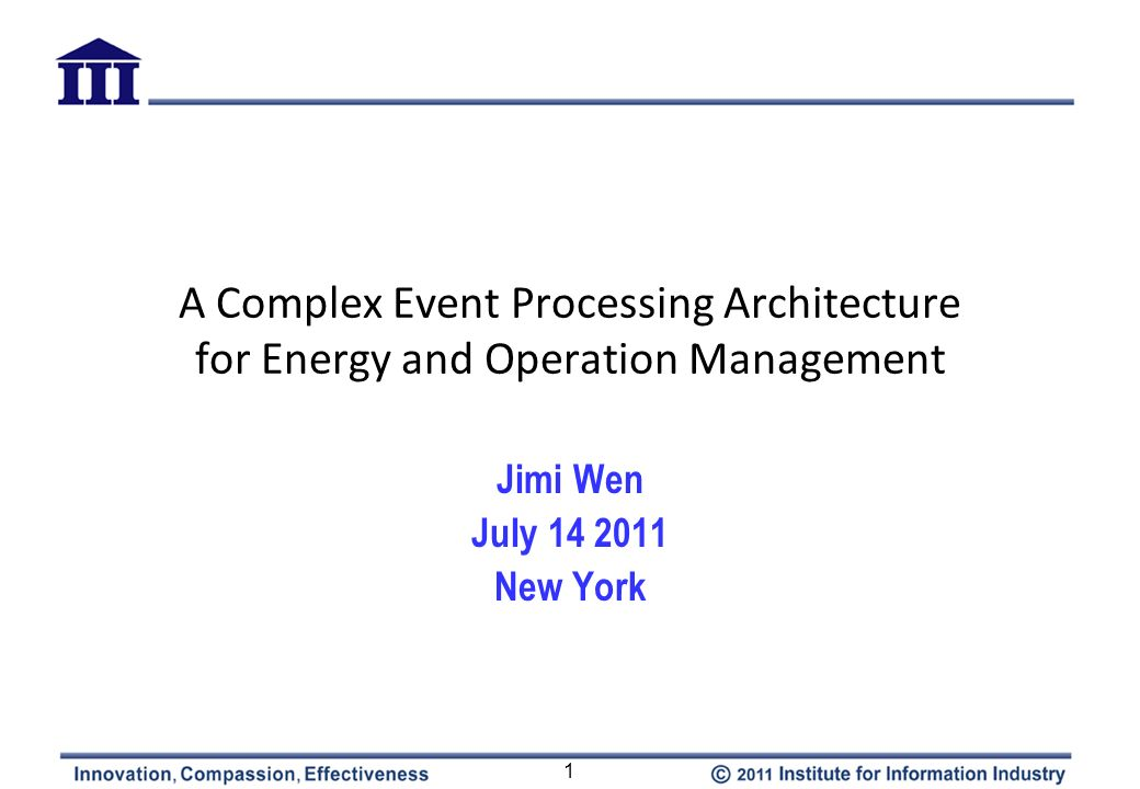 A Complex Event Processing Architecture for Energy and Operation Management