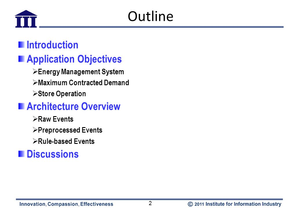 Outline Introduction Application Objectives Architecture Overview