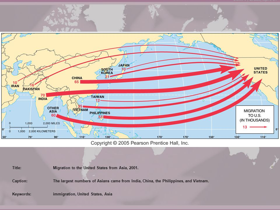 Title: Migration to the United States from Asia, 2001. Caption: The largest numbers of Asians came from India, China, the Philippines, and Vietnam.