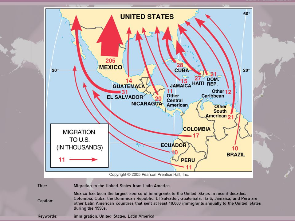 Title: Migration to the United States from Latin America. Caption:
