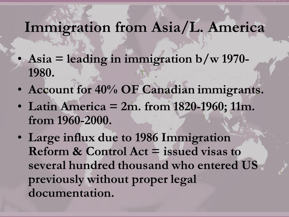 Immigration from Asia/L. America
