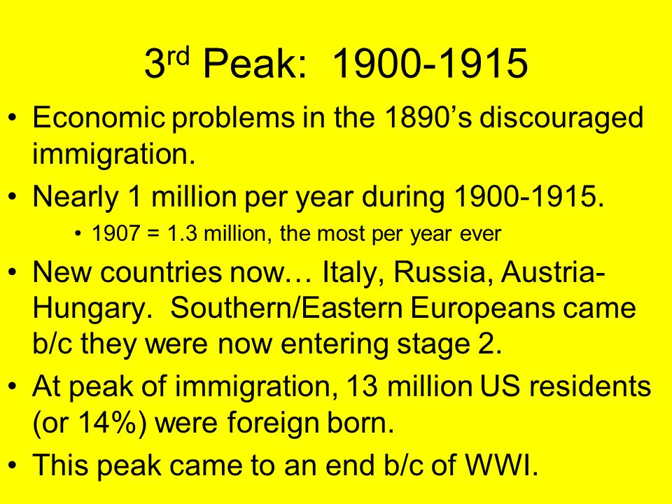 3rd Peak: 1900-1915 Economic problems in the 1890's discouraged immigration. Nearly 1 million per year during 1900-1915.