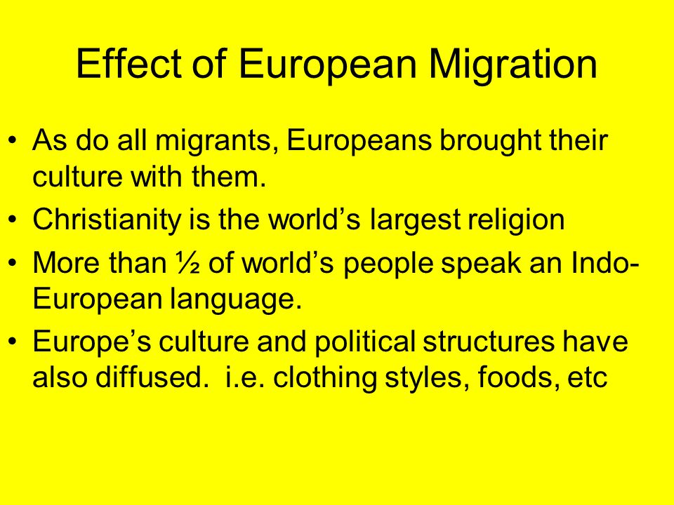 Effect of European Migration