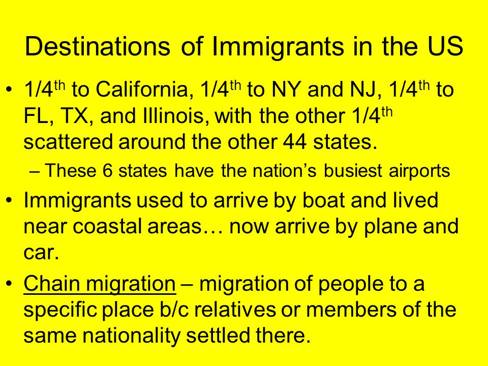 Destinations of Immigrants in the US