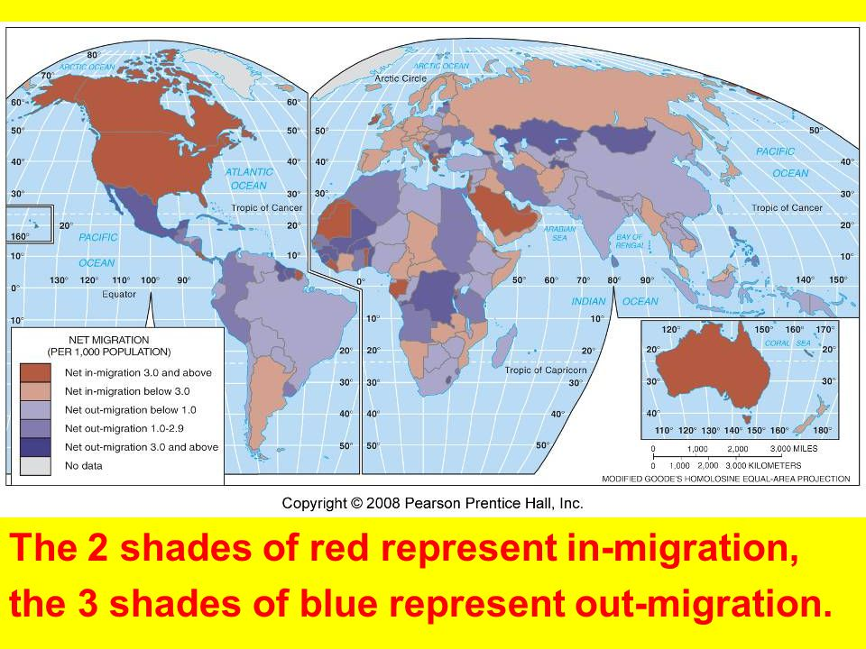 The 2 shades of red represent in-migration,
