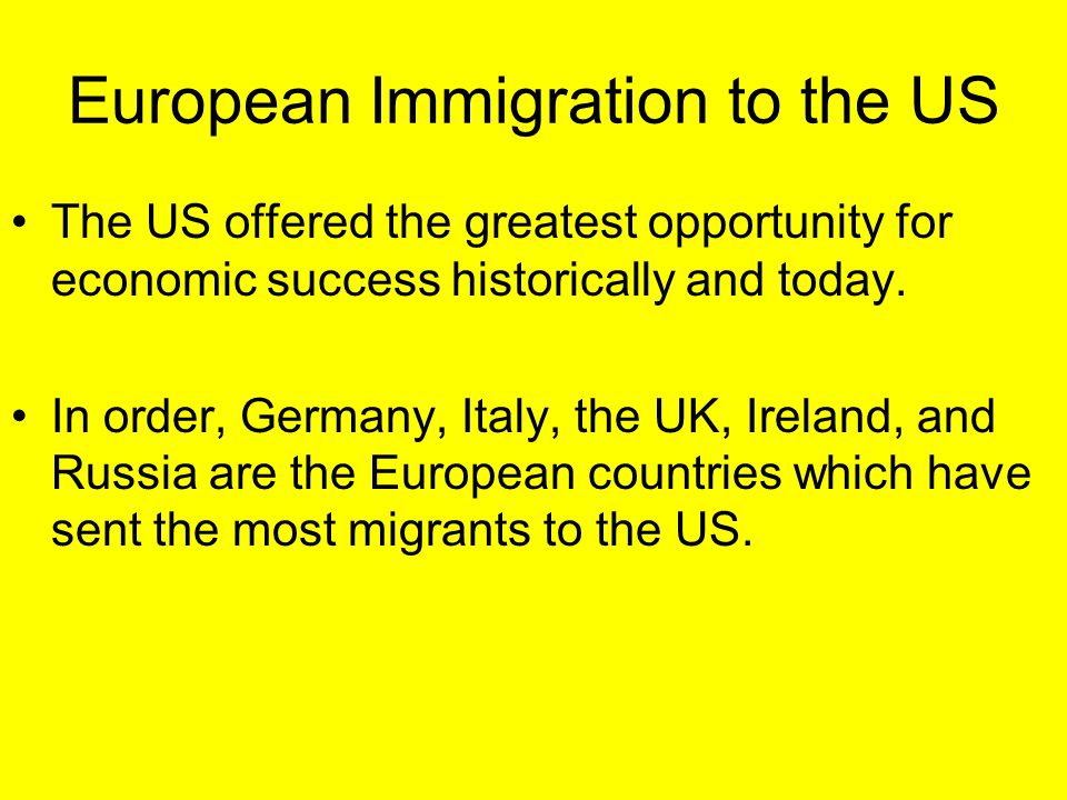 European Immigration to the US