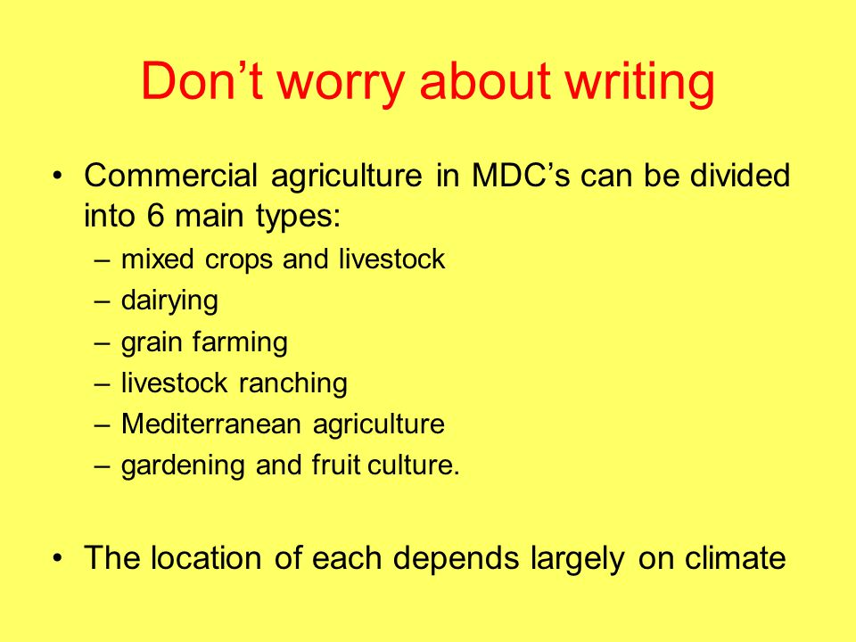 Don't worry about writing